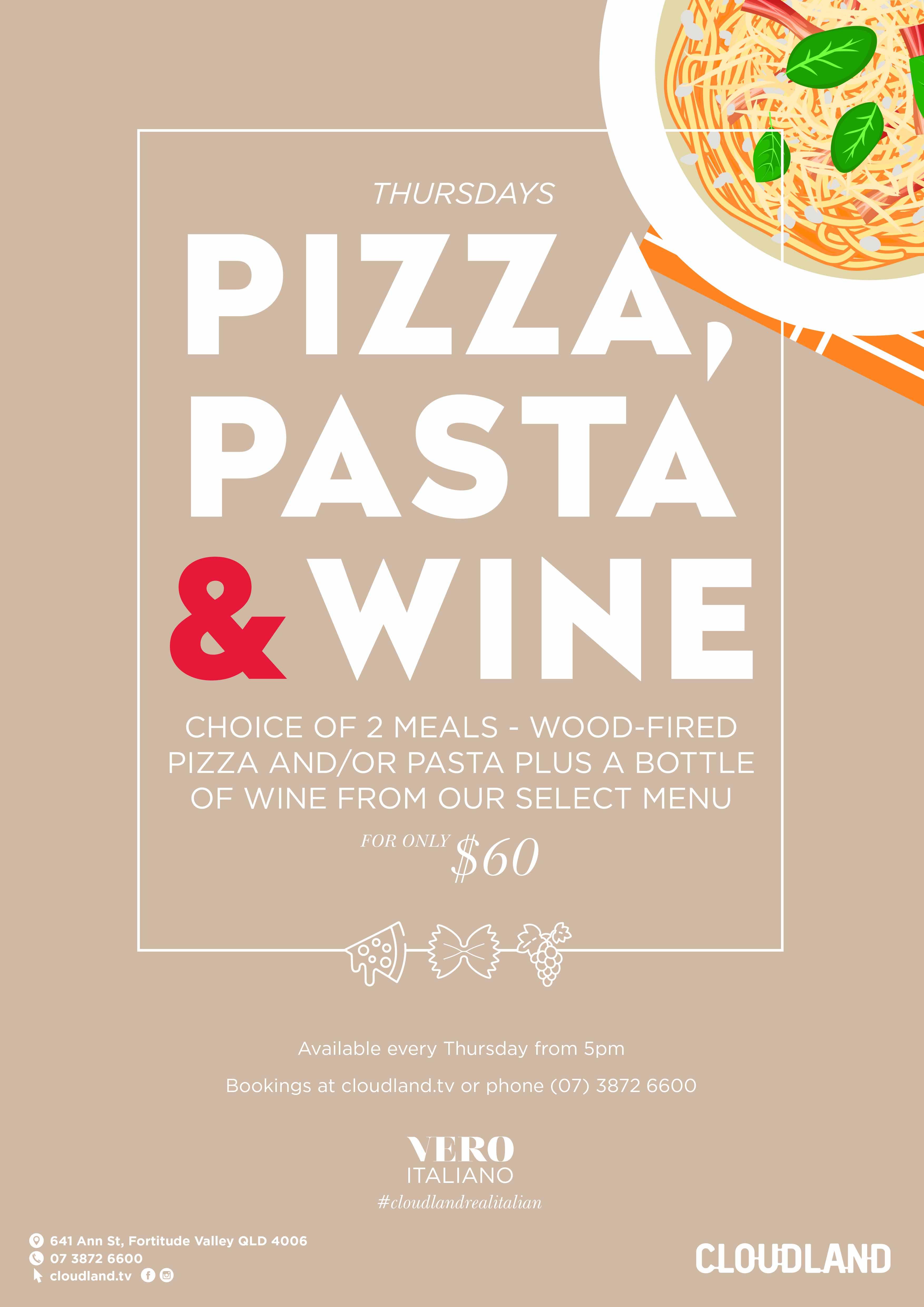 Pizza, Pasta, Wine