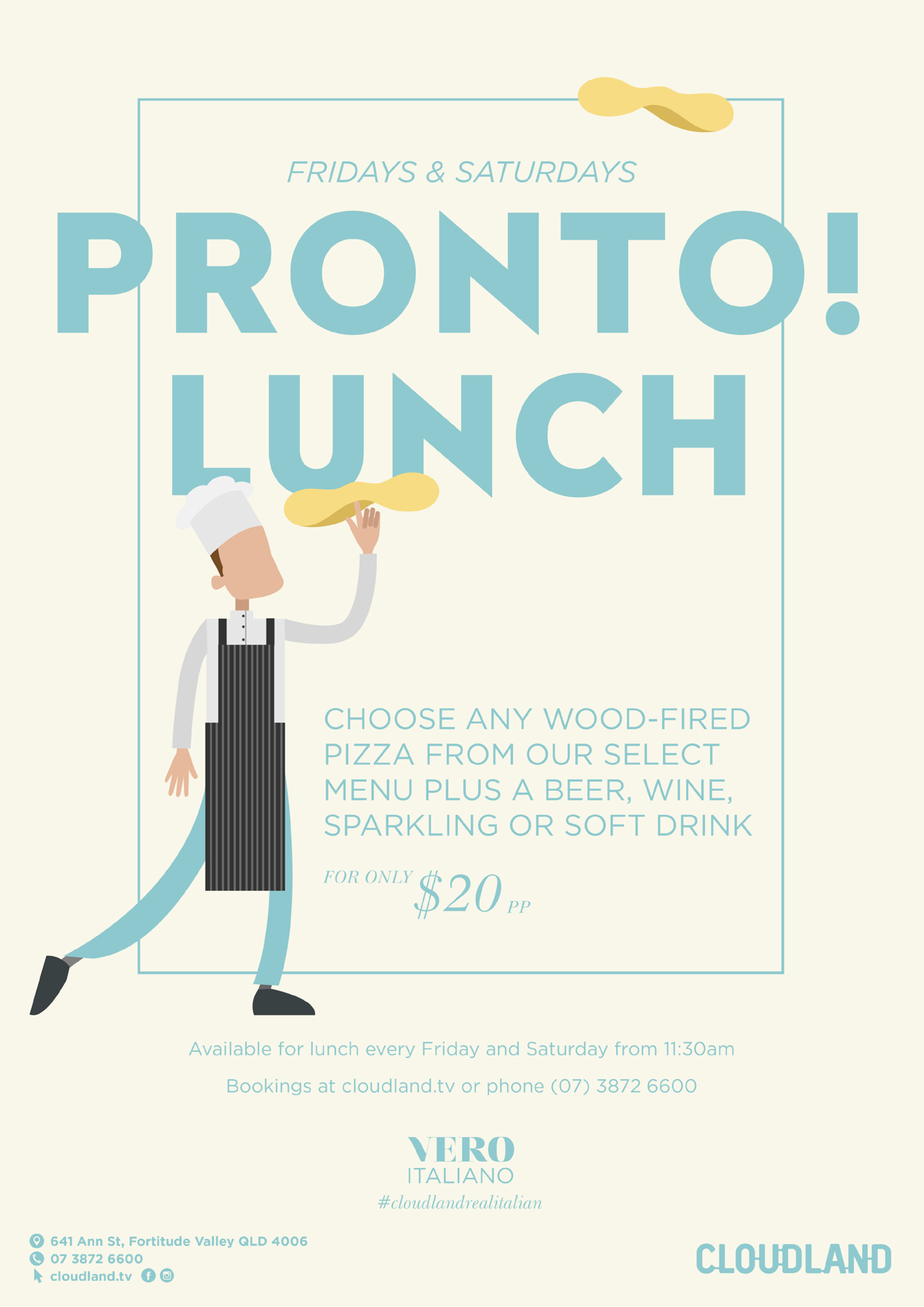 Cloudland Pizza and Drink Lunch Friday & Saturday