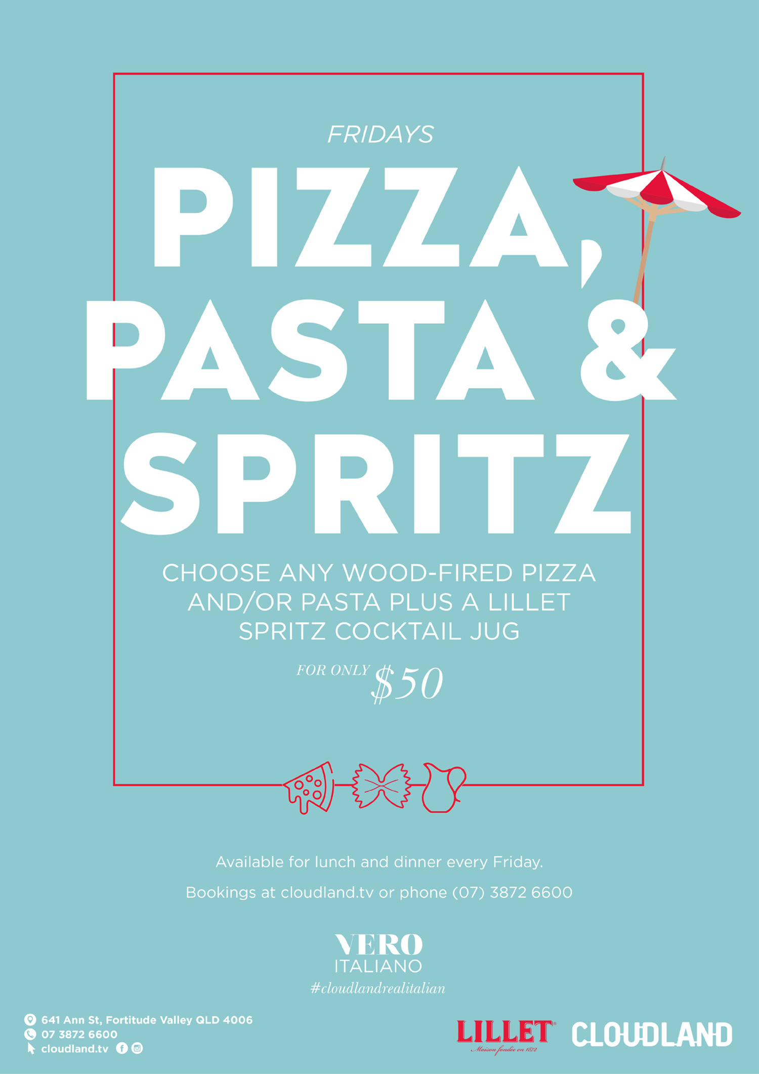 Cloudland Pizza, Pasta and Spritz Friday