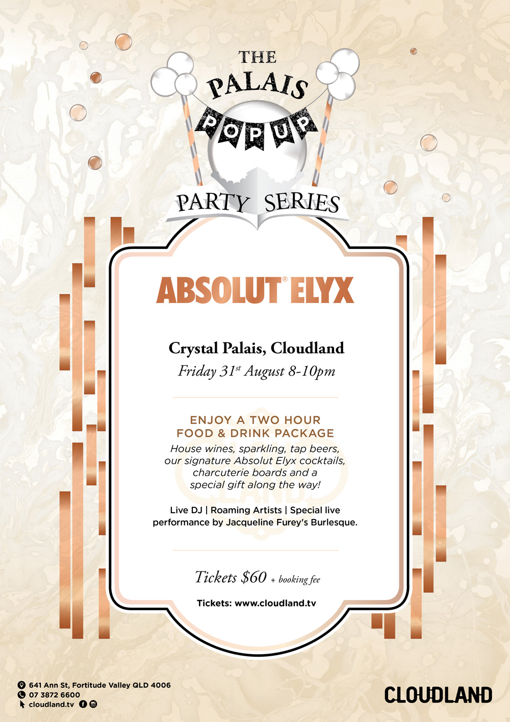 Cloudland Palais Pop Up Party Series Absolut Elyx