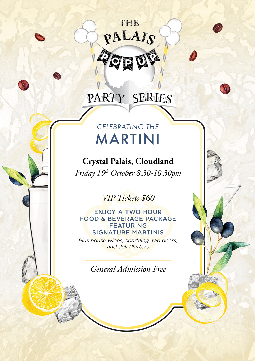 Cloudland Palais Pop-Up Party Martini